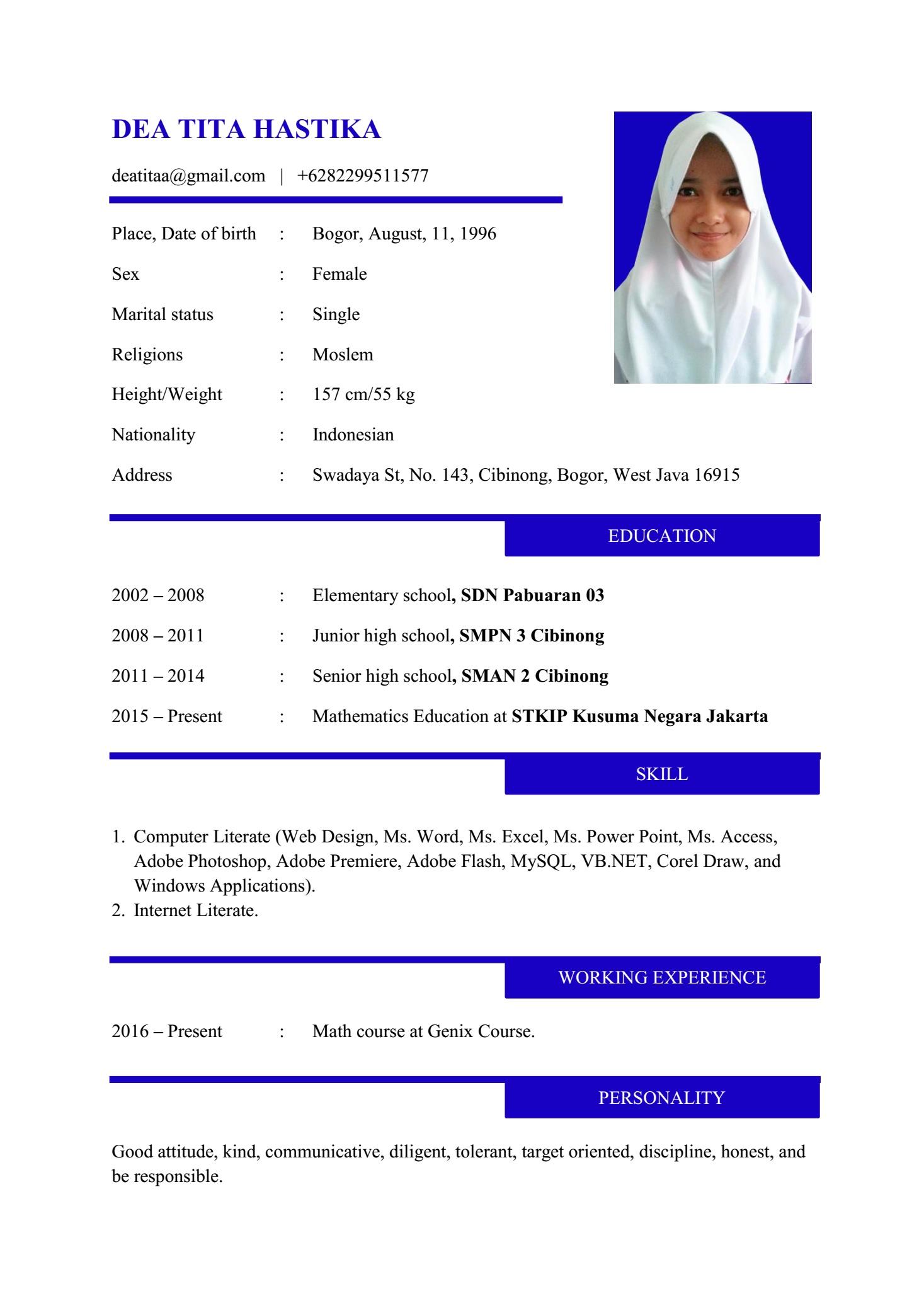Contoh Curriculum Vitae Dalam Bahasa Inggris Dea Tita Hastika